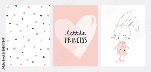 Nursery posters collection with cute girl rabbit character. Little princess. Hand drawn illustration for nursery wall art in scandinavian doodle style. Design for baby, kids poster, card, invitaton.