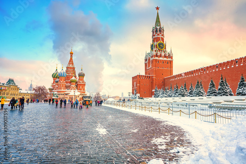 Fototapeta View on red square and kremlin in Moscow at winter snowy day, Russia