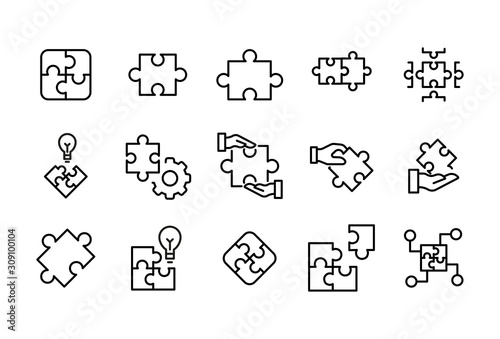 Canvas Print Stroke line icons set of solution.