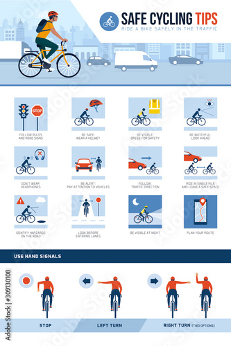 Safe cycling tips for riding safely in the city street Fototapeta