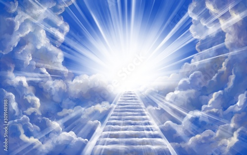 Foto stairway to heaven in glory, gates of Paradise, meeting God, symbol of Christian