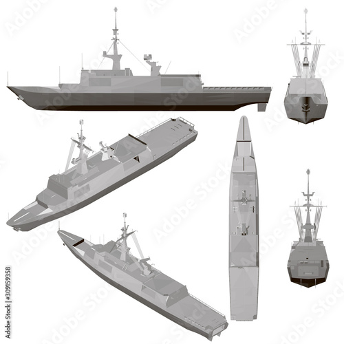 Canvas Print Set with a warship isolated on a white background