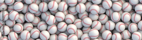 Canvas Print Baseball balls background with red stitching lying in a pile