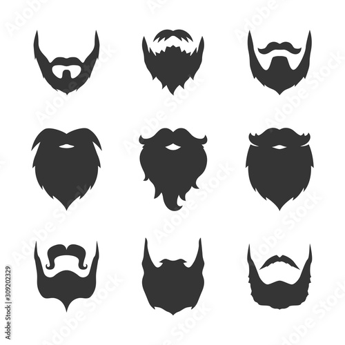 Obraz na plátně set of black man beard icons