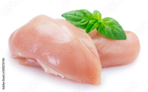 Photo Raw chicken fillet isolated on white background