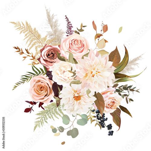 Leinwand Poster Moody boho chic wedding vector bouquet