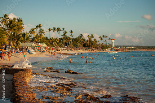 Obraz na plátně View of Dominicus beach in Bayahibe at Sunset 3