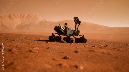 Fotografia A Rover during a dust storm on the red planet