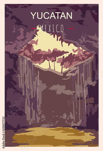 Fototapeta Yucatan retro poster