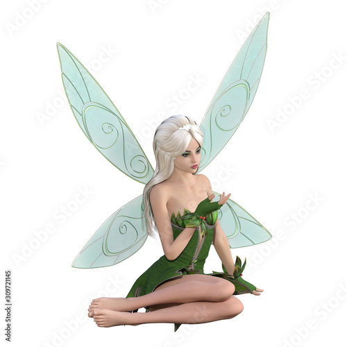 Photo Beautiful fairy isolated on white, 3d render.