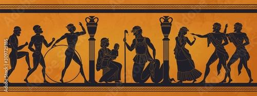 Ancient Greece mythology. Antic history black silhouettes of people and gods on pottery. Vector archeology pattern mythological culture on ceramics illustration