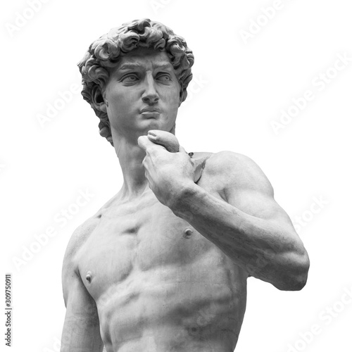 Statue of a famous statue by Michelangelo - David from Florence, isolated on whi Fototapet