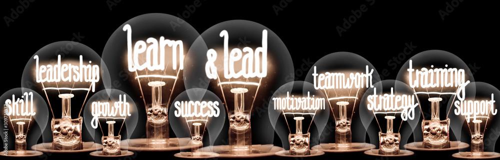 Light Bulbs with Learn & Lead Concept <span>plik: #309751337 | autor: EtiAmmos</span>