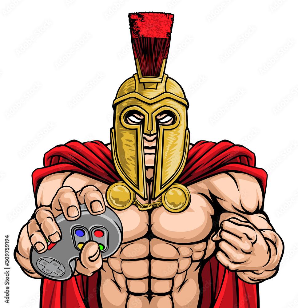 A Spartan or Trojan warrior or gladiator gamer mascot with video games controller <span>plik: #309759194   autor: Christos Georghiou</span>