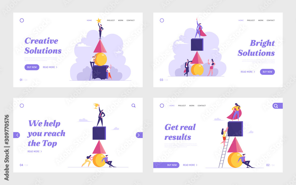 Business Competition, Teamwork, Challenge Website Landing Page Set. Colleague Climb Up by Ladder Trying to Reach Leader on Top of Pyramid. Team Work Web Page Banner. Cartoon Flat Vector Illustration <span>plik: #309770576 | autor: Hanna</span>