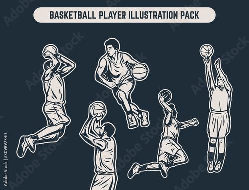 Wallpaper Mural Vintage retro black and white illustration pack of basketball player