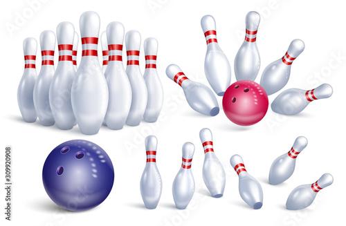 Valokuvatapetti Set of realistic bowling icons