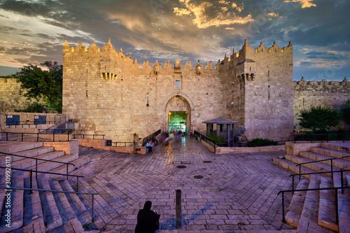 Tela Jerusalem Israel. Damascus gate at sunset
