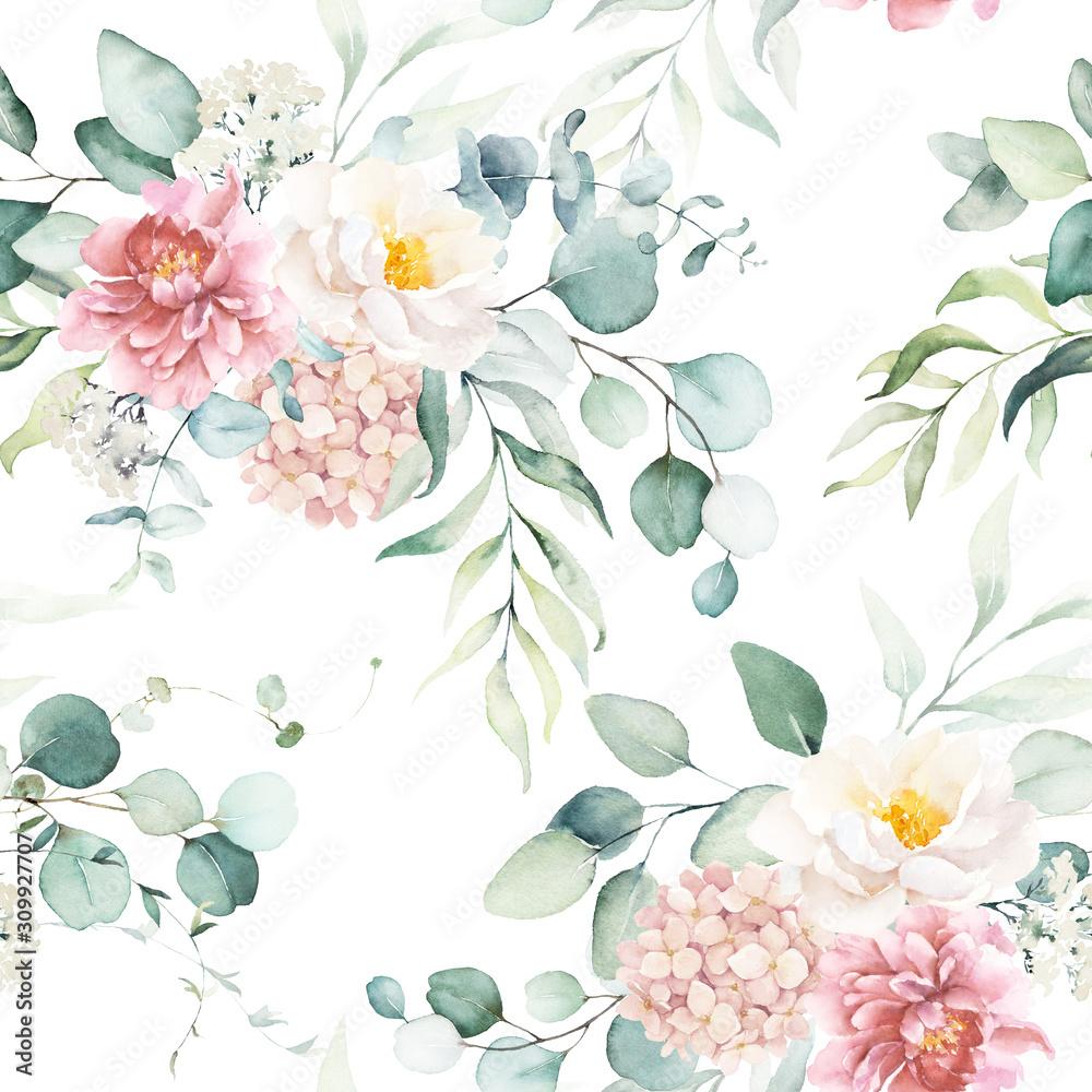 Bezproblemowa akwarela kwiatowy wzór z różowymi i brzoskwiniowymi kremowymi kwiatami, kompozycja liści na białym tle, idealna na opakowania, tapety, pocztówki, kartki okolicznościowe, zaproszenia ślubne, wydarzenia. <span>plik: #309927707 | autor: Veris Studio</span>