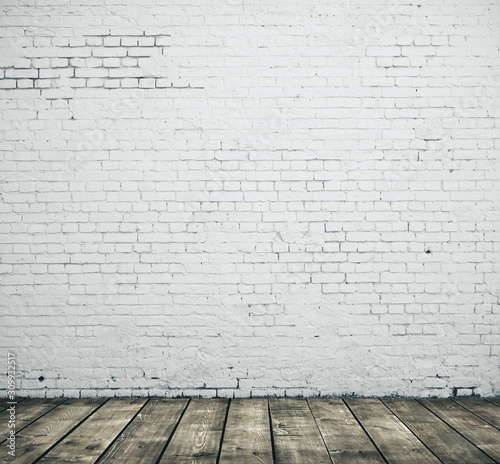 White blank brick wall Fototapeta
