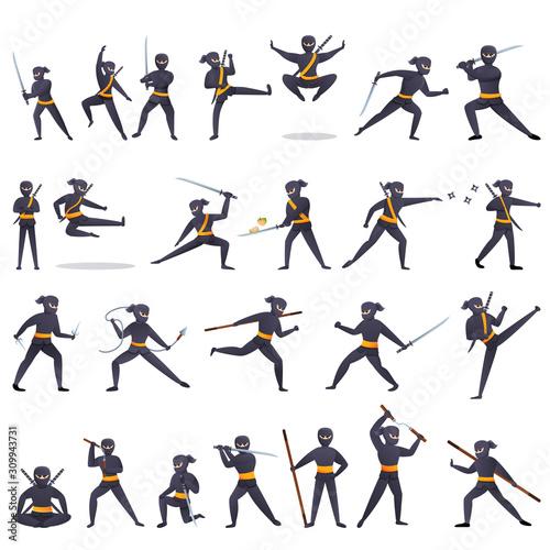 Fototapeta Ninja icons set. Cartoon set of ninja vector icons for web design
