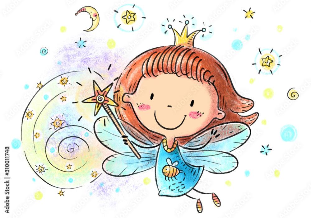 Fototapeta Mała wróżka z kreskówek z magiczną różdżką
