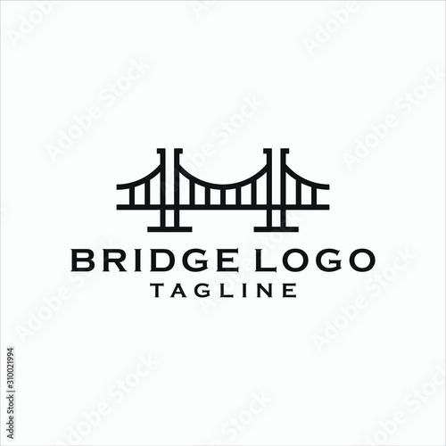 Canvas Print simple bridge logo design template vector icon illustration