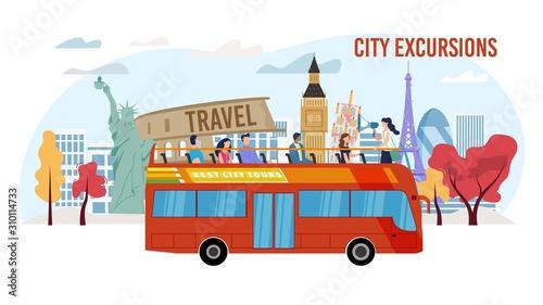 Fotografiet Touristic City Excursion, Bus Tour Service Trendy Flat Vector Advertising Banner, Promo Poster Template