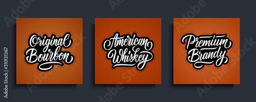 Fotografija American Whiskey, Original Bourbon, Premium Brandy handwritten labels templates for alcoholic beverages