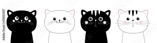 Black white cat head face line contour silhouette icon set. Pink blush cheeks. Funny kawaii smiling sad doodle animal. Cute cartoon funny character. Pet collection. Flat design Baby background.