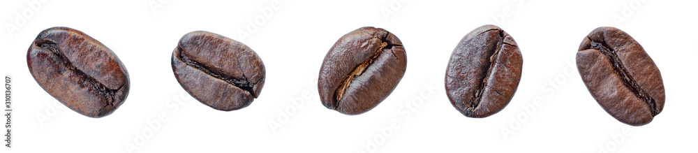 Set of coffee beans isolated on white background