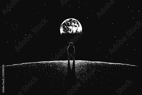 Astronaut looks to Earth from Moon Fototapet
