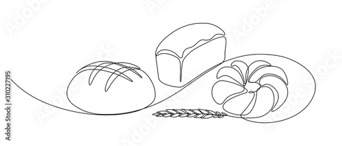 Fotografia Bakery products with wheat ear in continuous line art drawing style