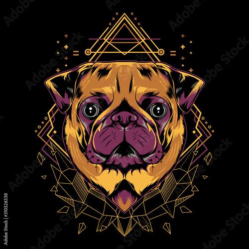 Canvas Print Cute pug dog mandala geometry vector illustration on black background for t-shirt, sticker, posters