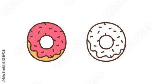 Fotografia Delicious doughnut linear vector icon