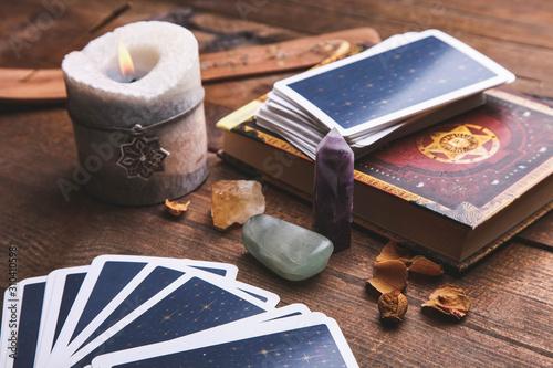 Obraz na płótnie Fortune-telling tarot cards and magic accessories