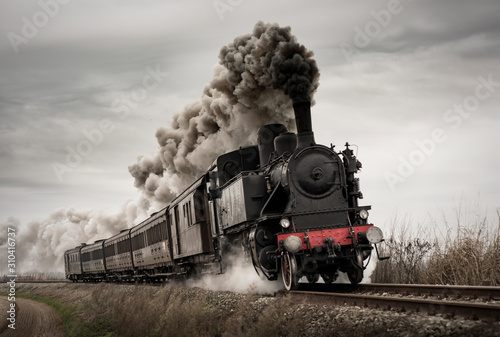 Fotografie, Obraz Vintage steam train with ancient locomotive and old carriages runs on the tracks