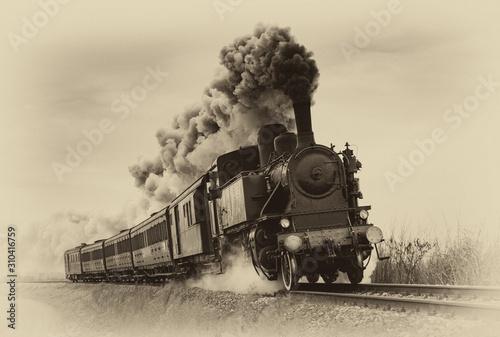 Vintage pociąg parowy. Zastosowano stary filtr zdjęć.