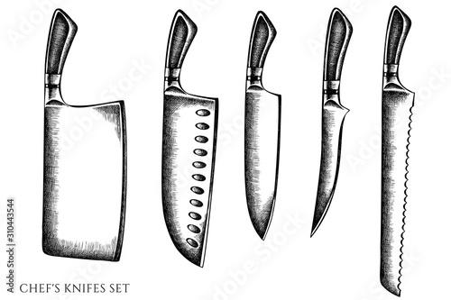 Fotografie, Obraz Vector set of hand drawn black and white Chef's knifes