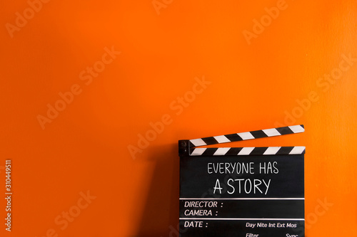 Everyone has a story- text title on film slate