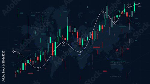 Billede på lærred Financial market analytics graph on a world map background, scale of pieces and