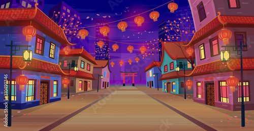 Fotografia Panorama chinese street with chinese zodiac sign year of red rat,  houses, chinese arch, lanterns and a garland at night