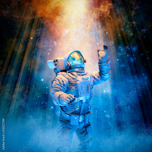 Reach for the heavens / 3D illustration of science fiction scene with astronaut reaching toward heavenly glow in outer space