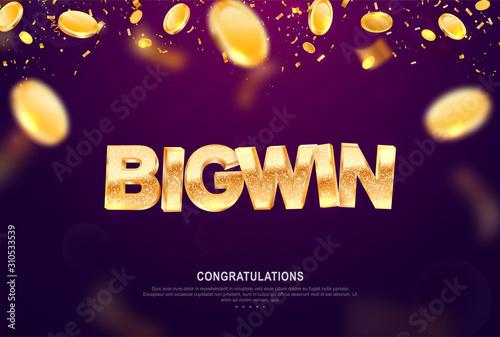 Fotomural Big win gold sign vector banner for gambling template