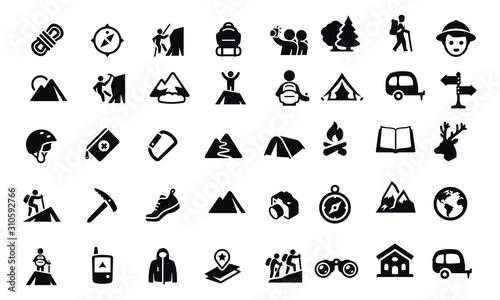 Fotografia Mountaineering Icons vector design black and white