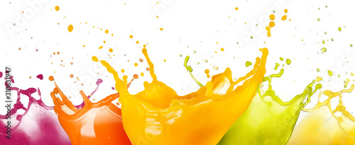 collection of fruit juice colorful splashes isolated on white background.
