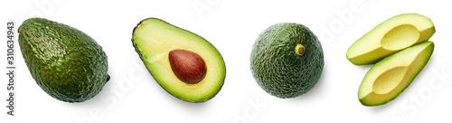 Canvas Fresh whole, half and sliced avocado