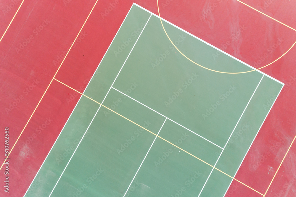 Aerial view of a combination outside tennis basketball courts