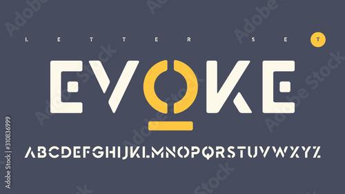 Fotografie, Tablou Vector sans serif urban stencil rounded letter set, cropped alphabet