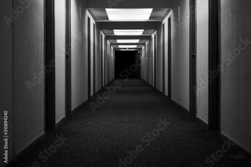 Fotografering hotel corridor hallway abandoned creepy black and white
